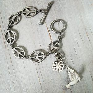 Lucky brand Peace sign toggle bracelet